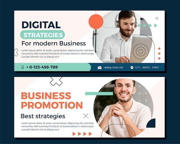 Płaskie banery biznesowe ze zdjęciem
