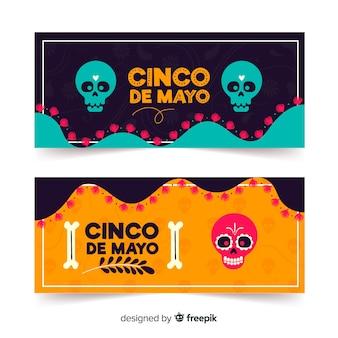 Płaskie banery cinco de mayo