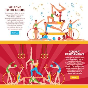 Płaskie banery circus acrobats
