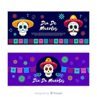Płaskie banery czaszki día de muertos