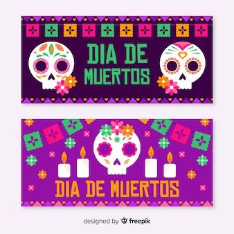 Płaskie banery día de muertos w fioletowych odcieniach