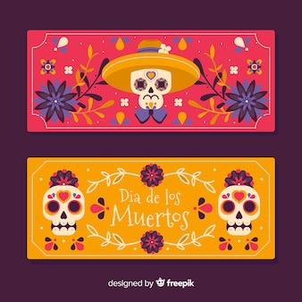 Płaskie banery día de muertos