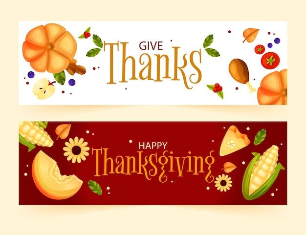 Płaskie banery dziękczynienia