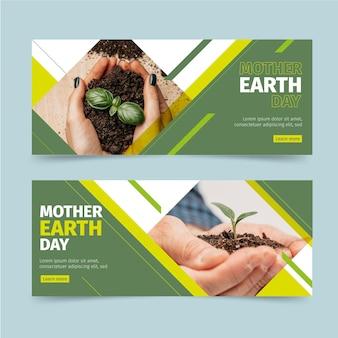 Płaskie banery dzień matki ziemi ze zdjęciem