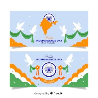 Płaskie banery dzień niepodległości indii