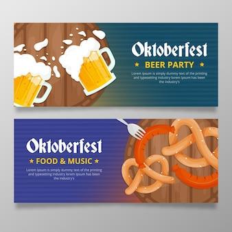 Płaskie banery festiwalu oktoberfest