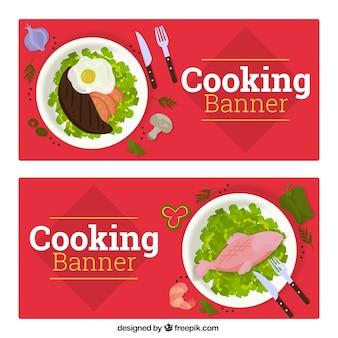 Płaskie banery gotowania zdrowej żywności