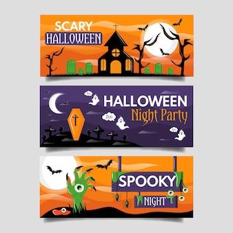 Płaskie banery halloween koncepcja