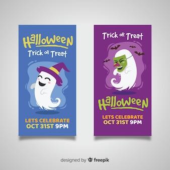 Płaskie banery halloween z cukierek albo psikus