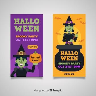 Płaskie banery halloween z czarownicami