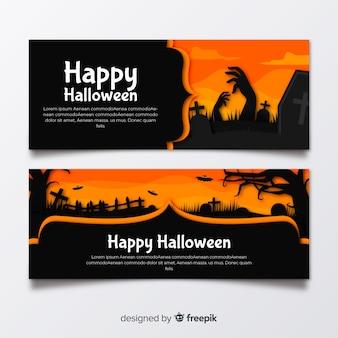 Płaskie banery halloween z pomarańczowymi odcieniami