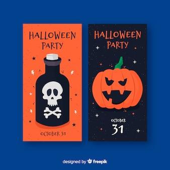 Płaskie banery halloween z trucizną i dynią
