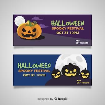 Płaskie banery halloween ze złymi dynie