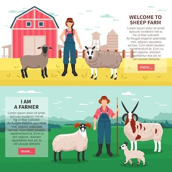 Płaskie banery hodowli owiec