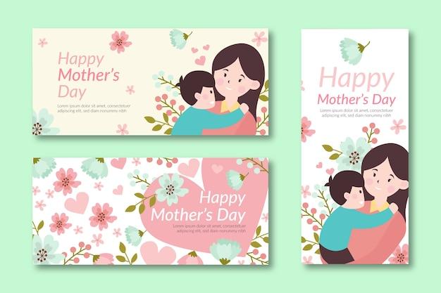 Płaskie banery na dzień matki