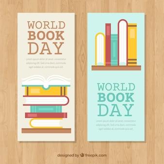 Płaskie banery na światowy dzień książki