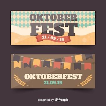 Płaskie banery oktoberfest nowoczesny design