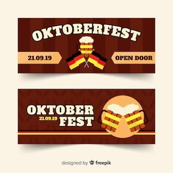 Płaskie banery oktoberfest z piwem