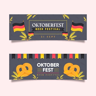 Płaskie banery oktoberfest