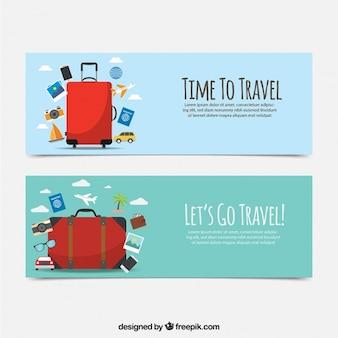 Płaskie banery podróżować z czerwoną walizką