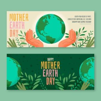 Płaskie banery poziome dzień matki ziemi