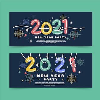 Płaskie banery poziome nowego roku 2021