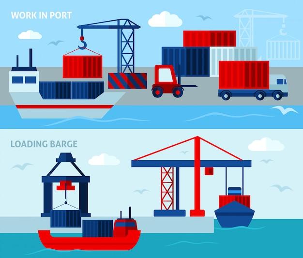 Płaskie banery poziome seaport
