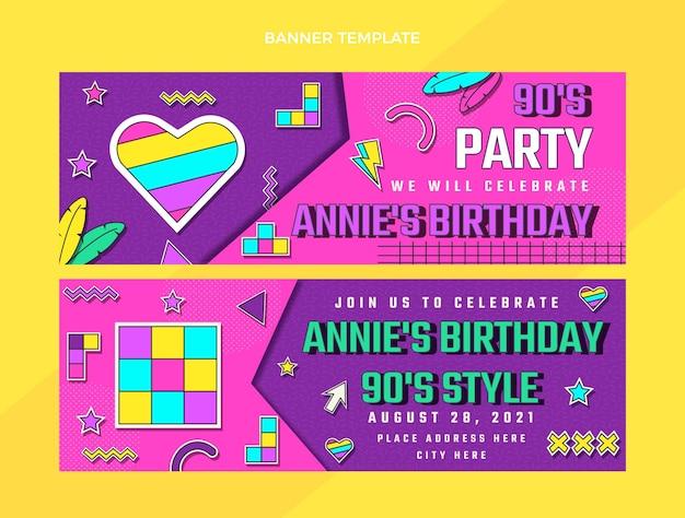 Płaskie banery poziome urodziny z lat 90.