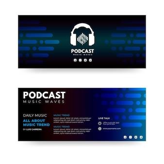 Płaskie banery projekt z symbolem słuchawki