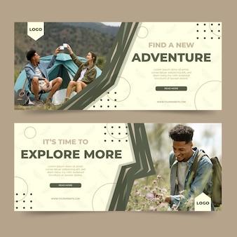 Płaskie banery przygody ze zdjęciem