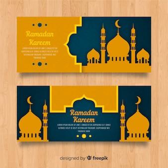 Płaskie banery ramadanu
