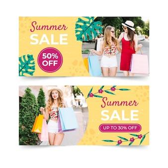 Płaskie banery sprzedaży lato zestaw ze zdjęciem