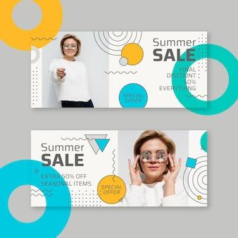 Płaskie banery sprzedaży ze zdjęciem