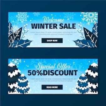 Płaskie banery sprzedaży zimowej