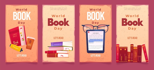 Płaskie banery światowego dnia książki
