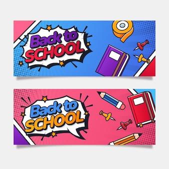 Płaskie banery z powrotem do szkoły ze zdjęciem