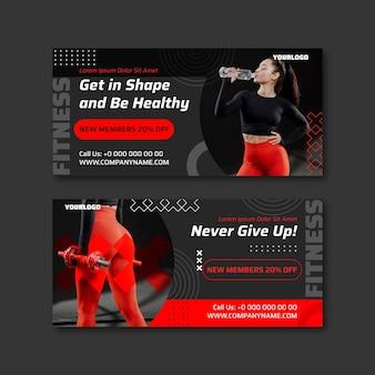 Płaskie banery zdrowia i fitness ze zdjęciem