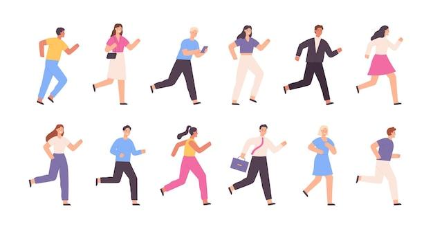 Płaskie bieganie ludzi, biznesmen, kobieta, postacie do biegania. aktywność sportowa na świeżym powietrzu. koncepcja konkurencji sukces. kreskówka biegacz wektor zestaw