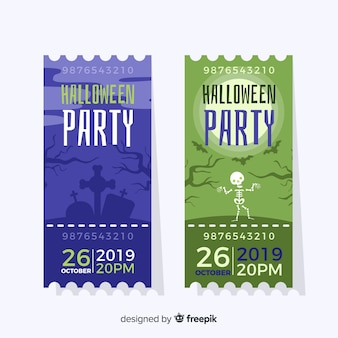 Płaskie bilety halloween niebieski i zielony