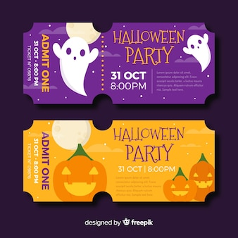 Płaskie bilety na halloween z duchami i dynią