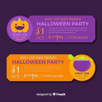 Płaskie bilety na halloween z dynią i tyglem