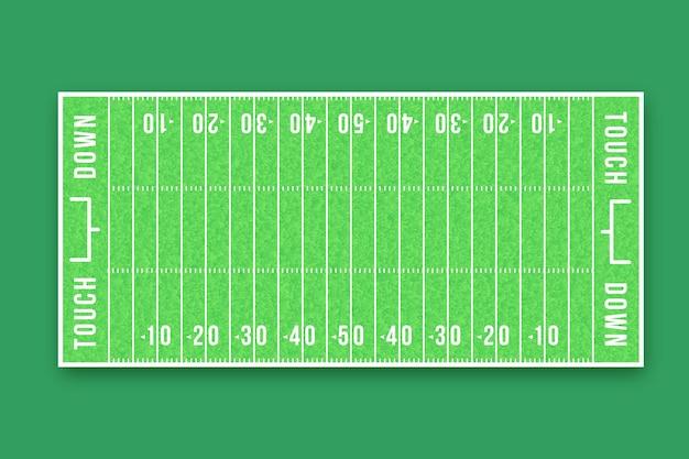 Płaskie boisko do futbolu amerykańskiego w widoku z góry