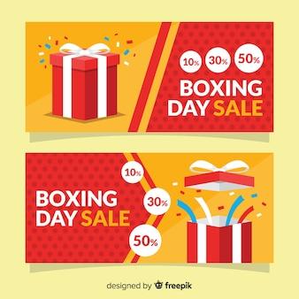 Płaskie boksowe banery sprzedaż dzień
