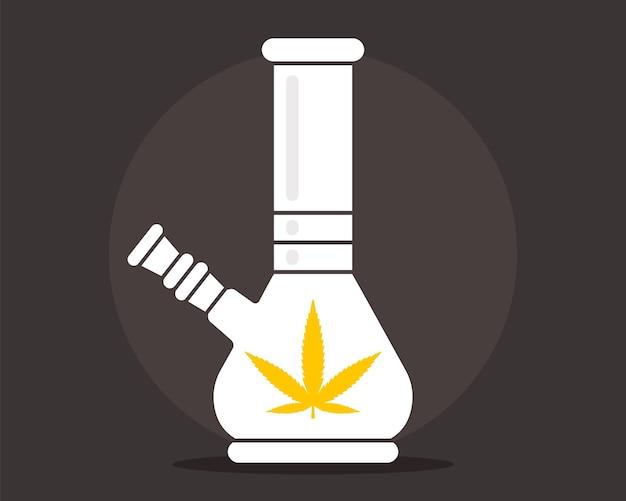 Płaskie bongo. godło marihuany. ilustracja wektorowa