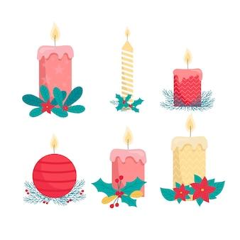 Płaskie boże narodzenie świeca kolekcja na białym tle