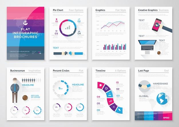 Płaskie broszury projektowe i elementy biznesowe infografiki