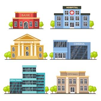 Płaskie budynki miejskie. współczesne centrum biurowe, fasada szpitala i budynek ratusza. ilustracja wektorowa nowoczesnego teatru i kina