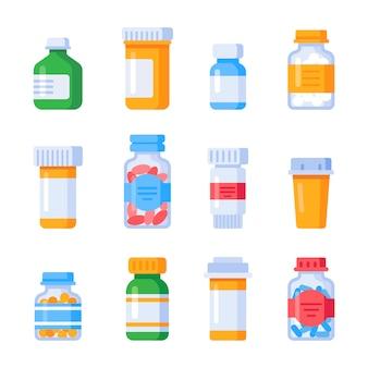 Płaskie butelki z lekarstwami