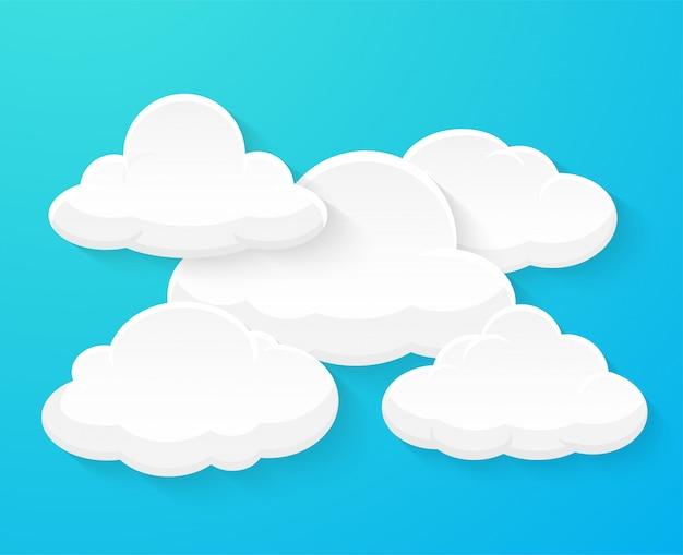 Płaskie chmury wektorowe dekorowane oddzielnie