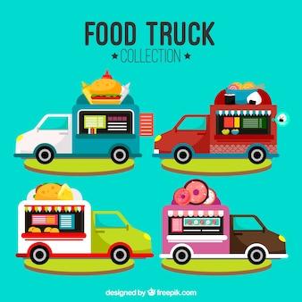Płaskie ciężarówki żywności z różnych menu